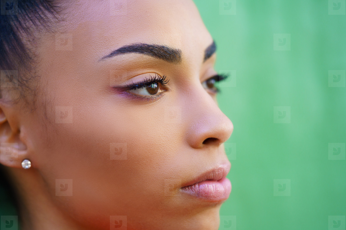 Close up portrait of beautiful young black girl