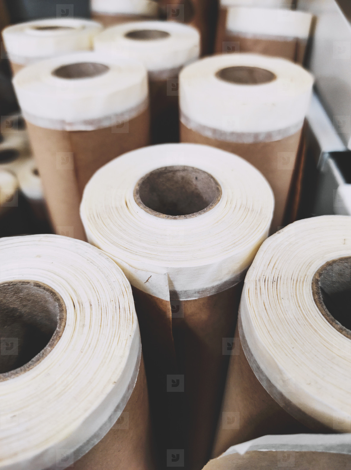 Group of brown paper roll for diy