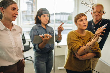 Businesswoman putting forward her ideas in meeting
