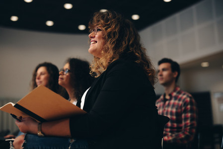 Businesswoman attending a corporate workshop