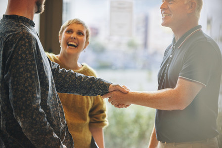 Business people handshake after a deal