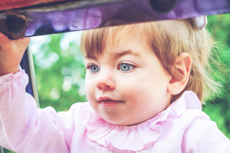 Beautiful portrait of a baby girl with blue eyes