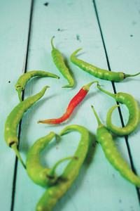 Green and red hot peppers