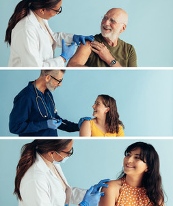 Composite image of people getting vaccinated