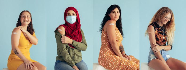 Diverse women collage with coronavirus vaccination