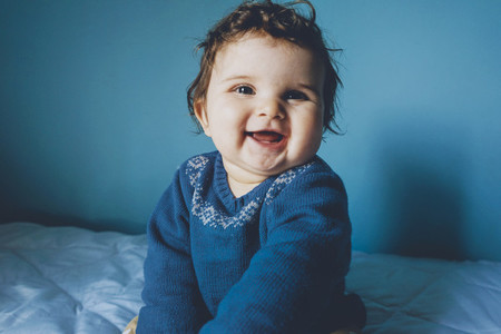 Portrait of a really happy baby