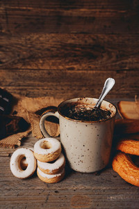 Delicious lifestyle of a warm chocolate cup and sweeties