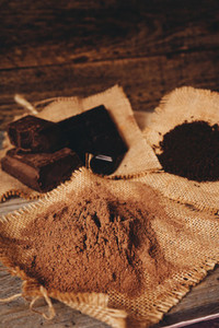 Mix of dark and sweet chocolates and cocoa powder