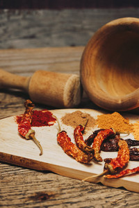 Still life of exotic and hot spices