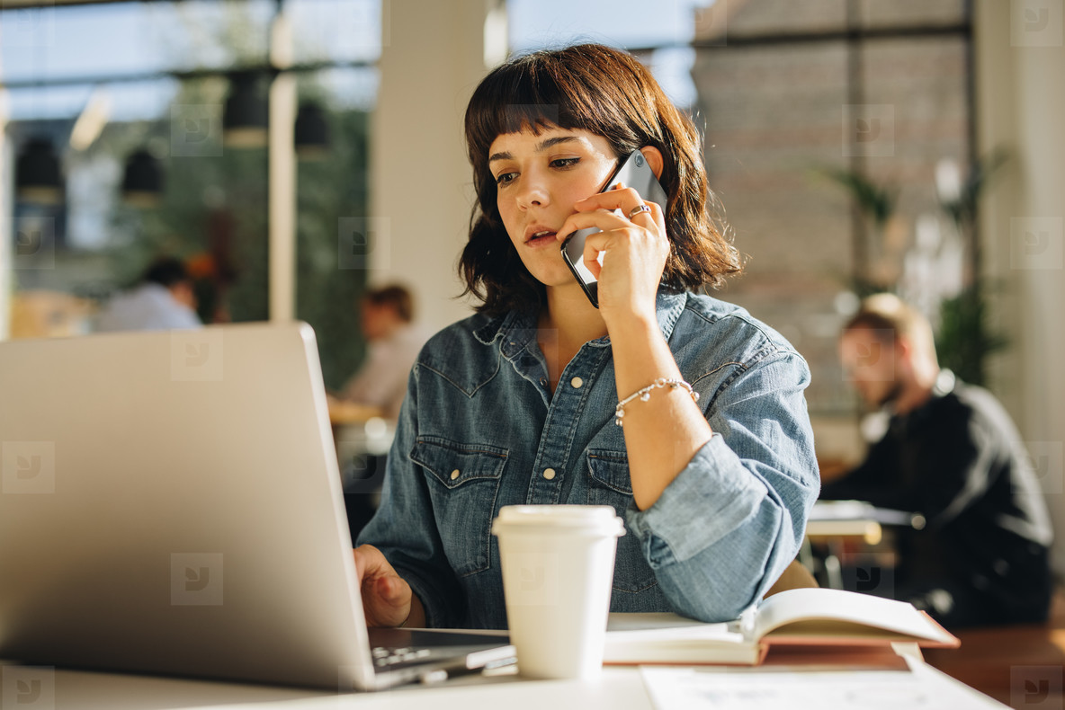 Woman doing business in a co working space
