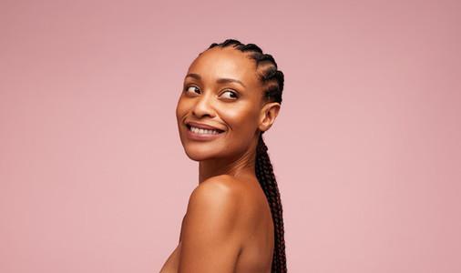 Woman with radiant melanin skin