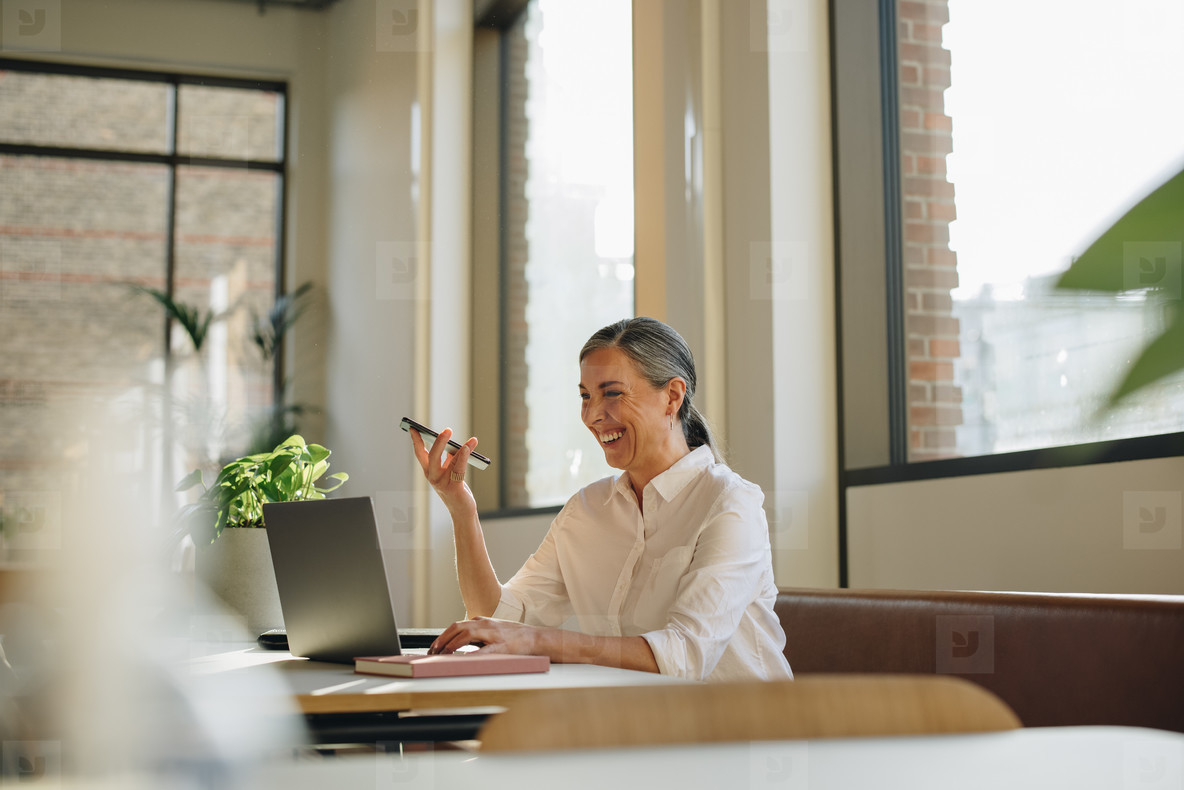 Woman working in coworking office space