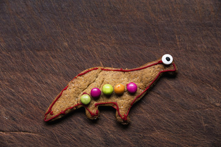 Cute decorated dinosaur gingerbread cookie
