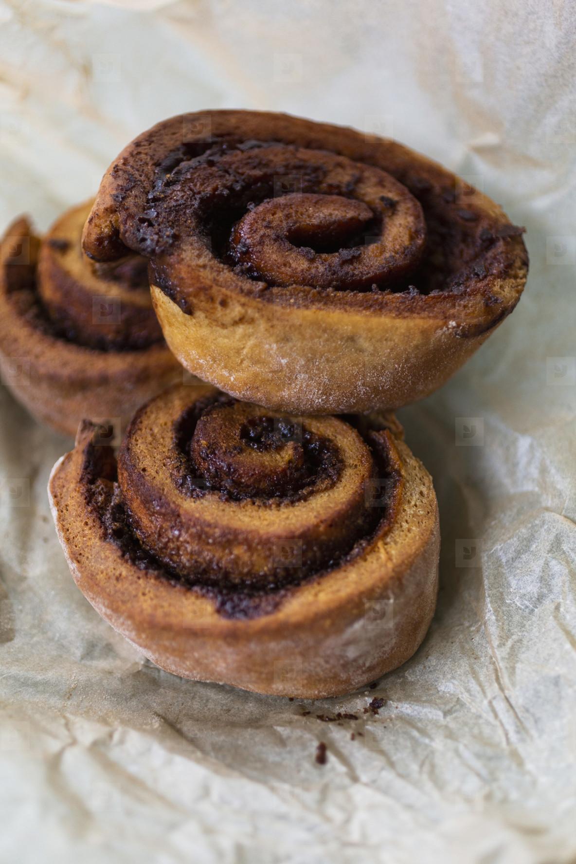 Close up baked cinnamon rolls