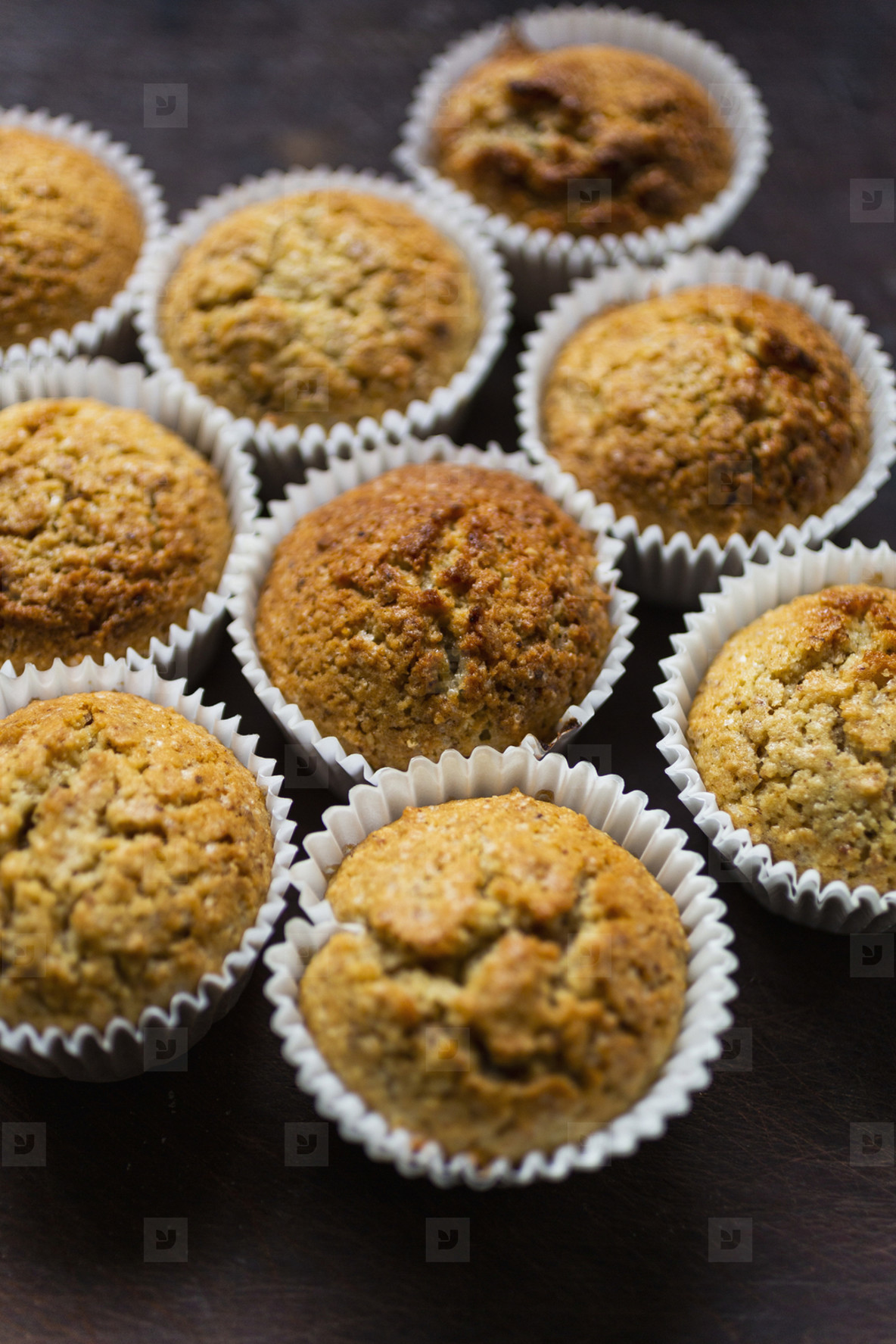 Close up bran muffins in cupcake liners