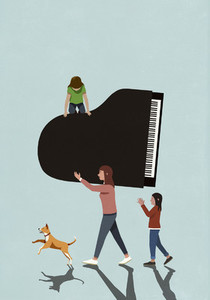 Family with dogs carrying grand piano