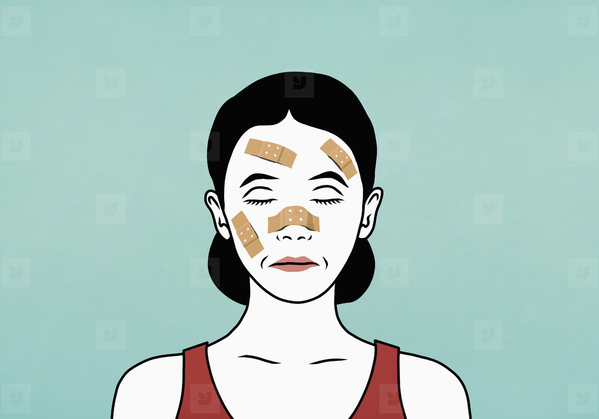 Woman with bandaged face