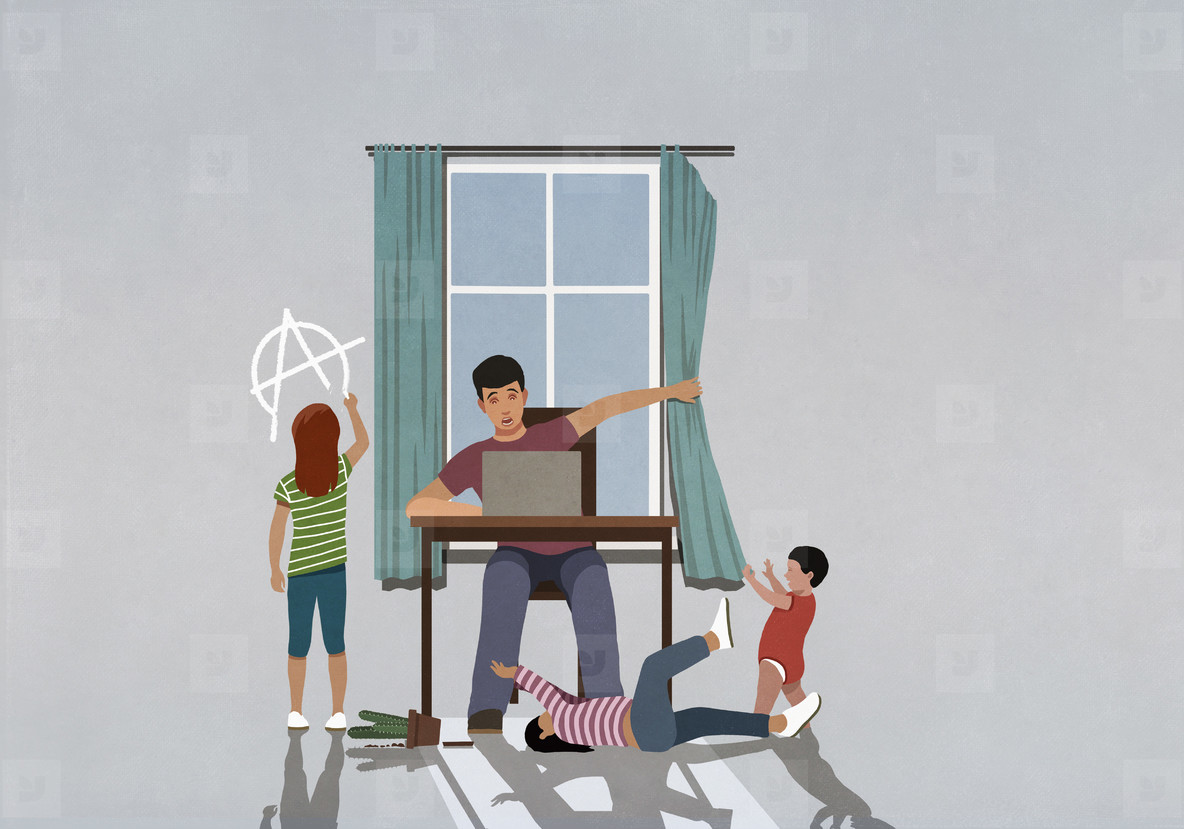 Children distracting father working from home