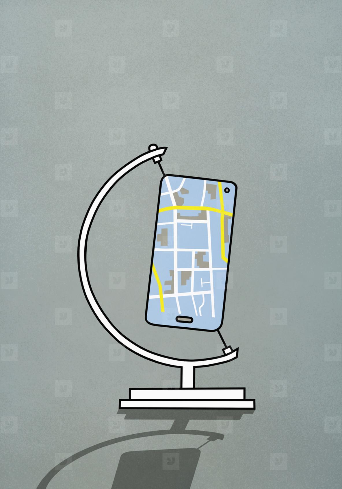 GPS on smart phone screen in globe stand