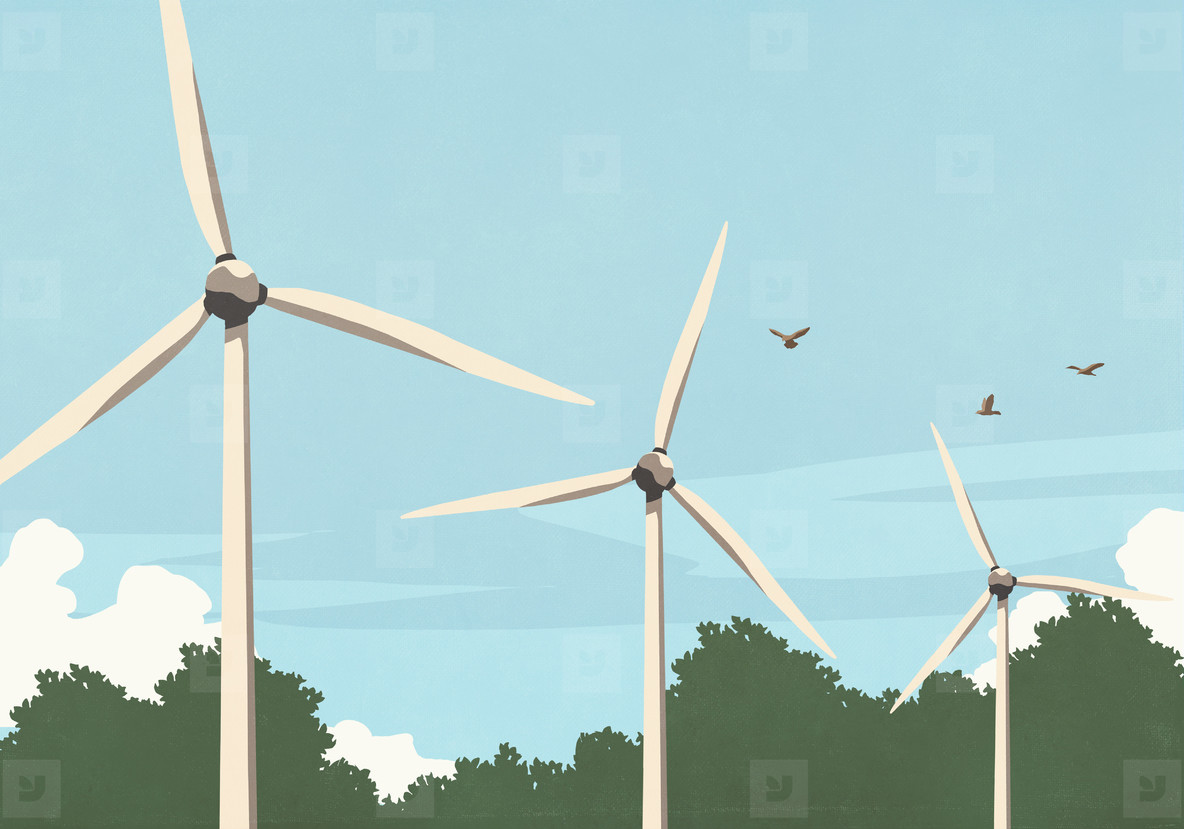 Birds flying above wind turbines