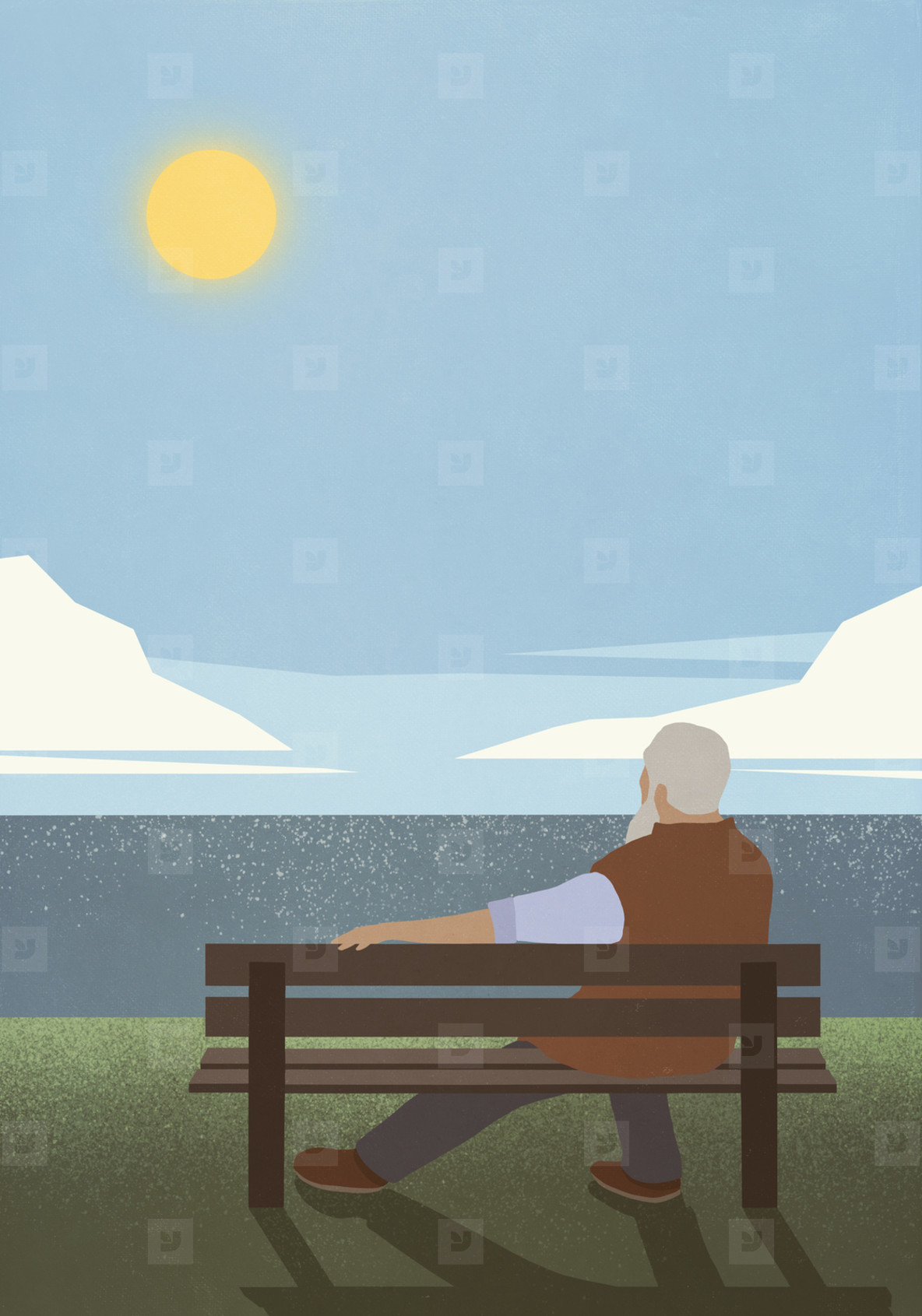 Serene senior man on bench enjoying idyllic sunny lake view