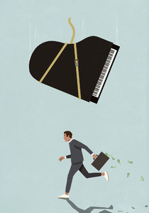 Grand piano falling above businessman running with money