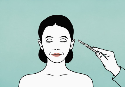 Plastic surgeon with scalpel approaching face of female patient
