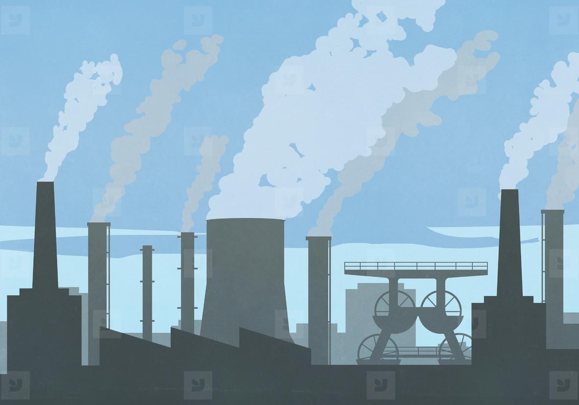 Pollution smoke emitting from factory smokestacks