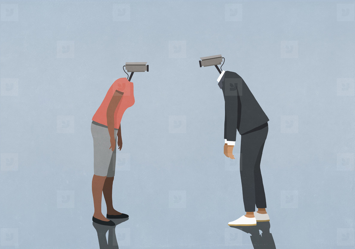 Man and woman with surveillance camera faces face to face