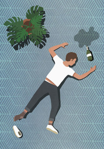 Drunk man passed out next to bottle on floor