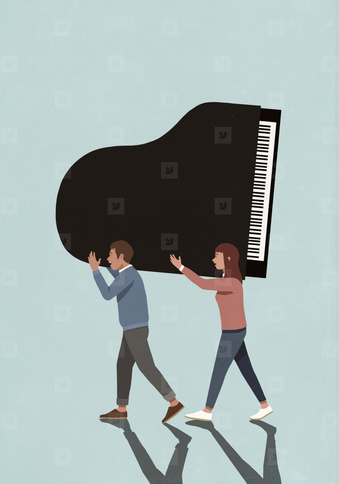 Couple carrying grand piano