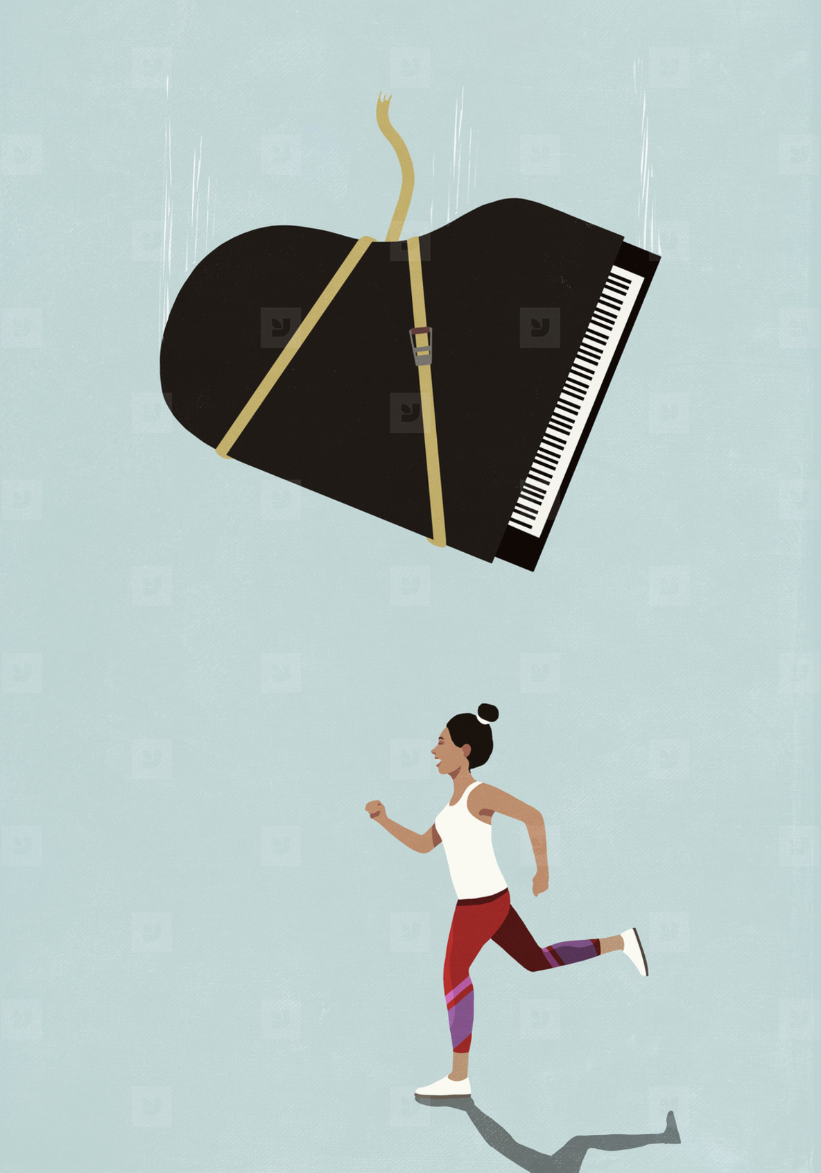 Grand piano falling above oblivious female runner