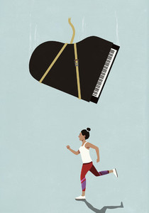 Grand piano falling above oblivious female runner