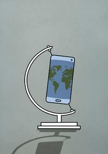 Global map smart phone on globe stand