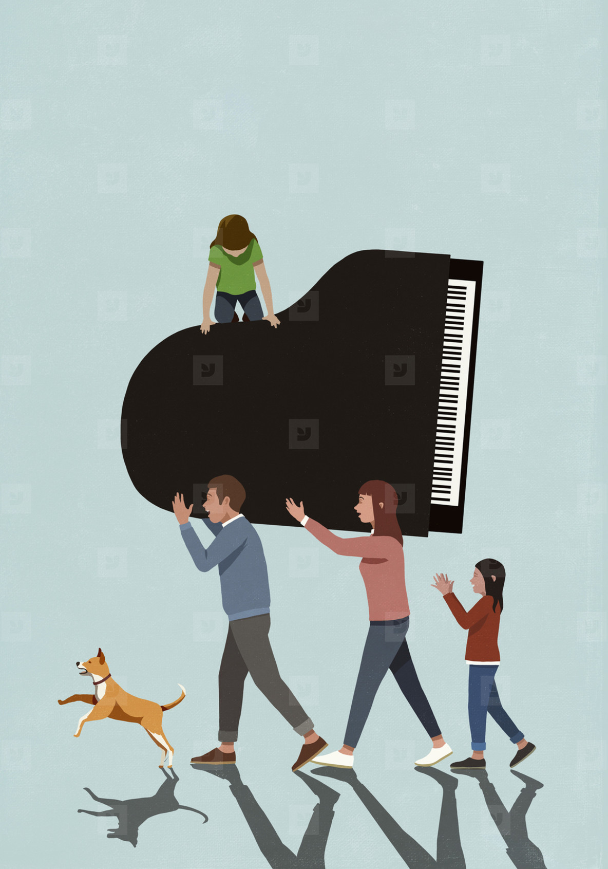 Family with dog carrying piano