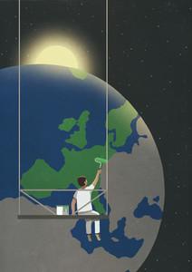 Man on platform painting globe green