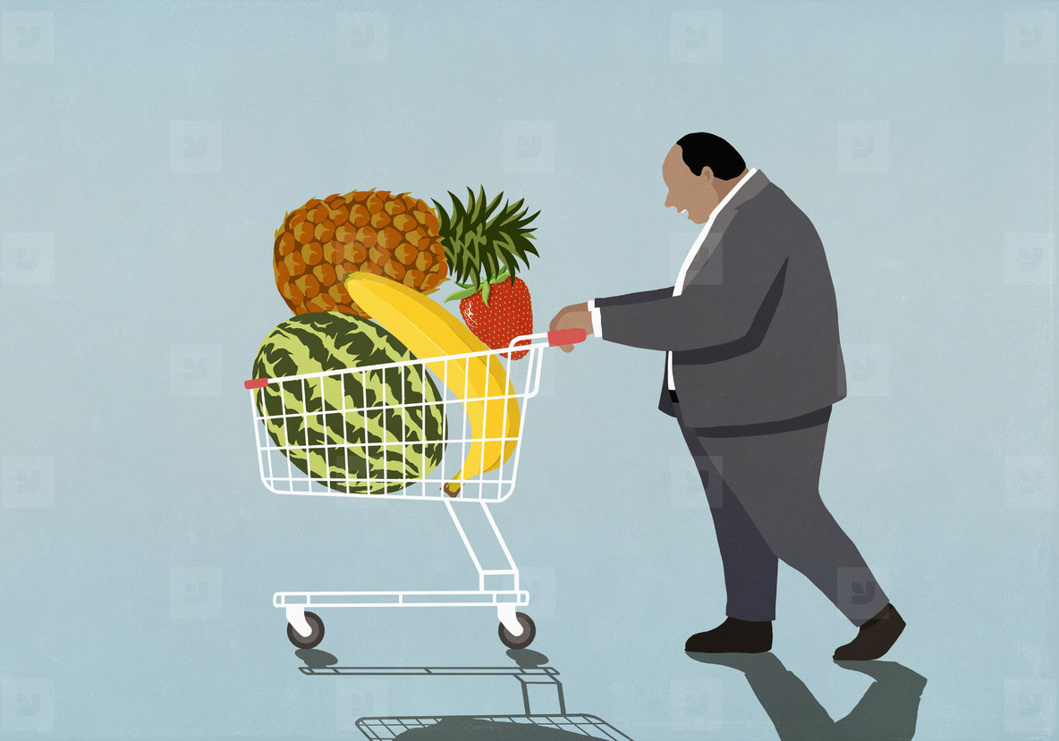 Overweight businessman with fresh fruit in shopping cart