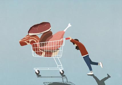 Girl pushing shopping cart full of meat