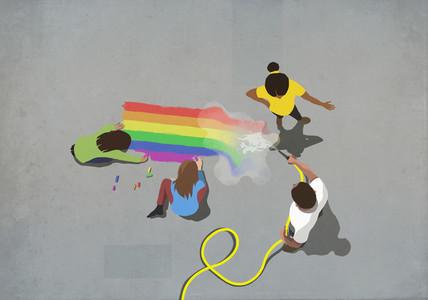 Frustrated woman confronting man hosing off sidewalk chalk rainbow
