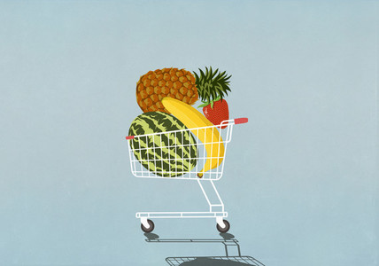 Shopping cart full of fresh fruit