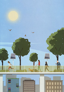 Pedestrians on elevated walkway with solar panels above city