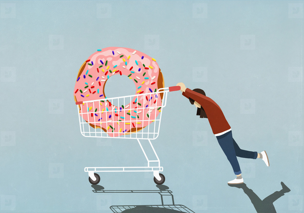 Girl pushing large sprinkle donut in shopping cart