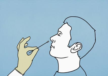 Man getting nose swab COVID 19 test