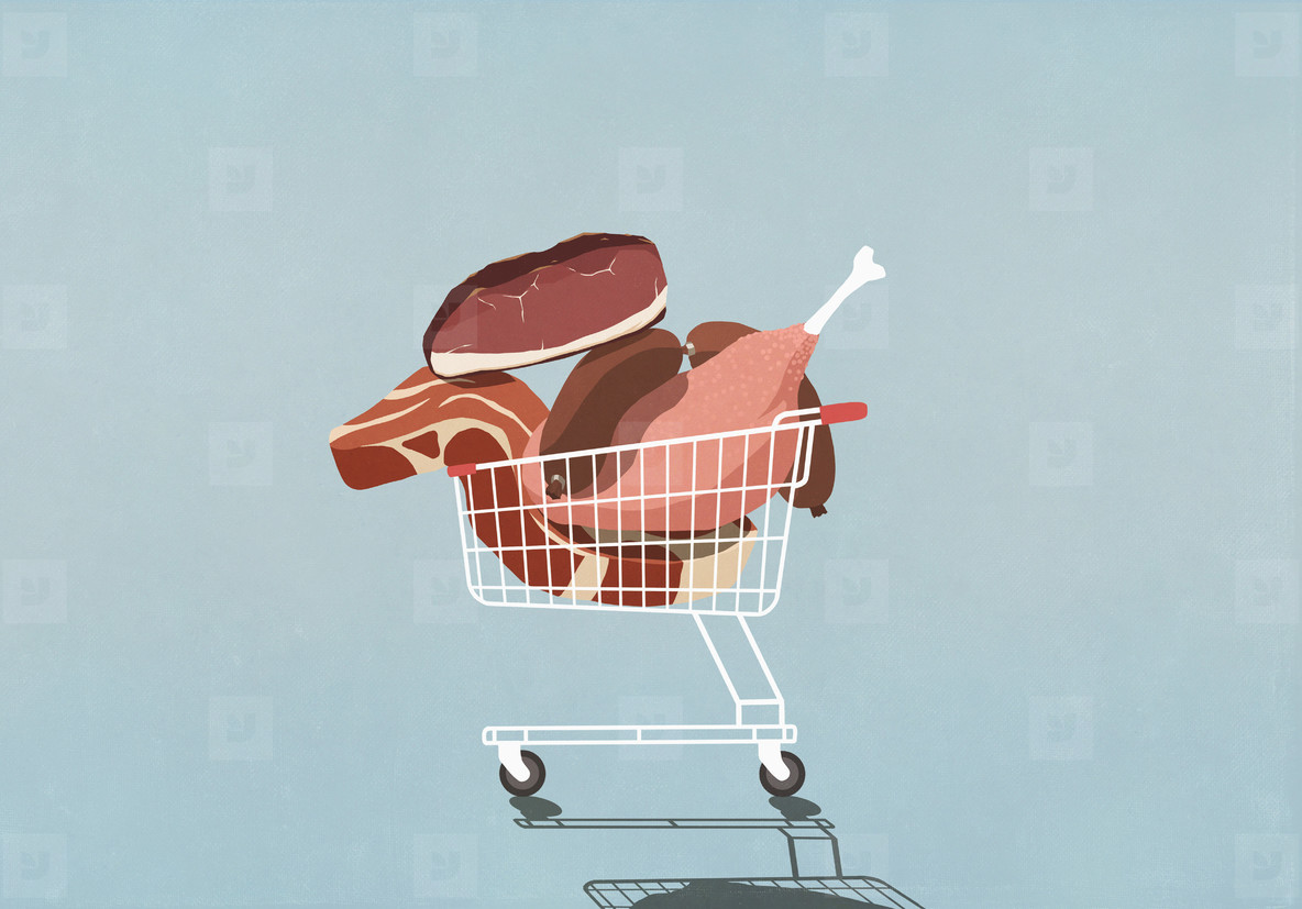 Shopping cart full of meat