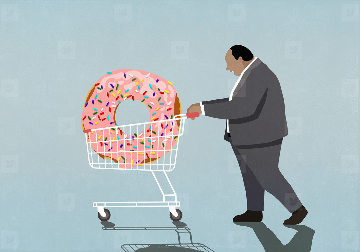Overweight businessman pushing large donut in shopping cart