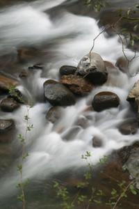 Beautiful waterfall rushing among rocks