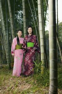 Portrait beautiful young women in Japanese kimonos among bamboo trees