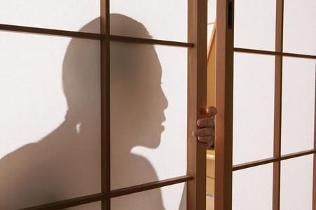 Close up shadow young woman lurking behind shoji doors