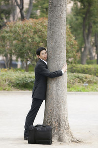 Serene businessman in suit hugging tree in park