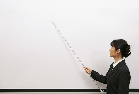 Businesswoman leading lesson with pointer at whiteboard